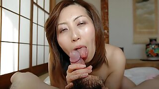 Japanese MILF Licks and Sucks Cock