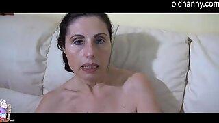 Naughty older mature masturbating with toy