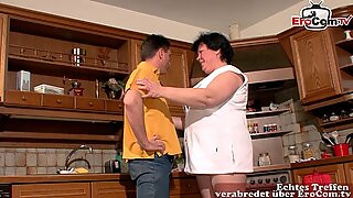 German fat housewife fuck in kitchen with husband
