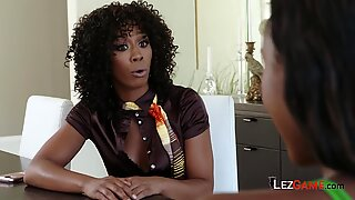 Chanell and Misty have hot lesbian sex at lawyers office