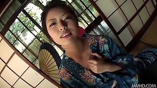 Geisha Hana likes tough masturbation right in traditional Japanese house
