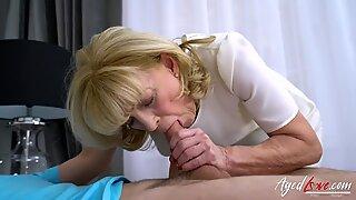 AgedLovE grannie enjoys Attention of kinky Guy