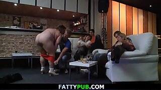 Chubby party girl takes off her clothes