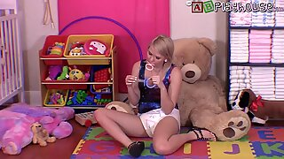 Olivia wanks with large Pacifier