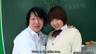 Asian brunette slut fucked in the classroom