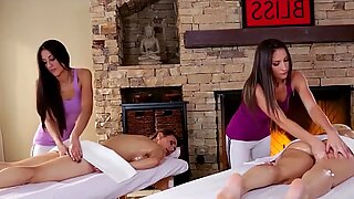 Exotic massage turns into an incredibly sensual lesbian foursome