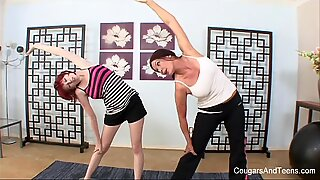Redhead has a sexual workout session with her stepmom