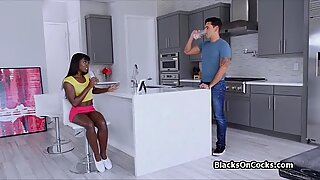 Kitchen quickie with cock stealing nubian beauty