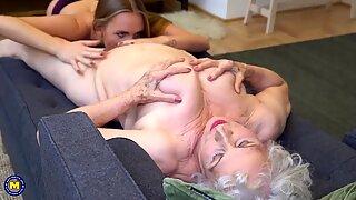 Girl seduces old granny