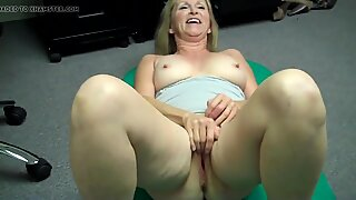 Grandma masturbating then FREAKS OUT at Porn Casting