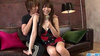 Karen Natsuhara uses big dick to smash her tight vagina
