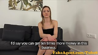 FakeAgent Skinny blonde babe takes spunk shower in Office
