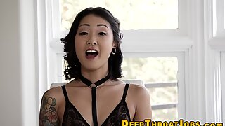 Fatal madam with piercings and tattoos mouth banged hard.
