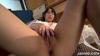 Hot Ruka Kanae  feels horny and eager to play solo