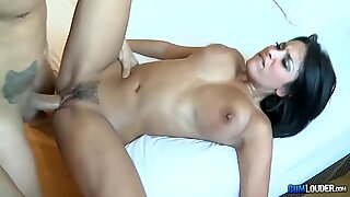 Gorgeous exotic brunette Abissa Kate gets her hairy pussy fucked.
