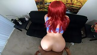 Naughty red head gives hot blowjob & takes BBC face down ass up - Big Red