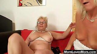 Well-endowed grandma penetrates a milf