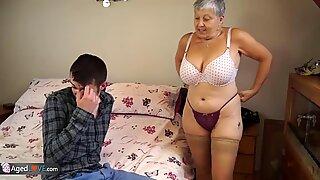 Teen big cock with granny and latin granny with big vibrator