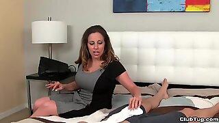 Milf long socks handjob