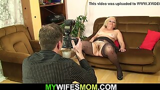 Diry photosession and taboo sex with old mother in law