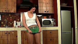Pantyhose Fun In The Kitchen